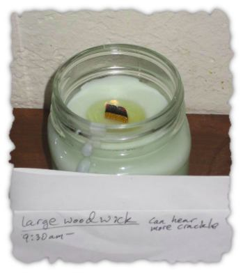 Large wood wick soy candle test